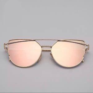 Accessories - Aviator Cat Eye Pink Mirrored Sunnies